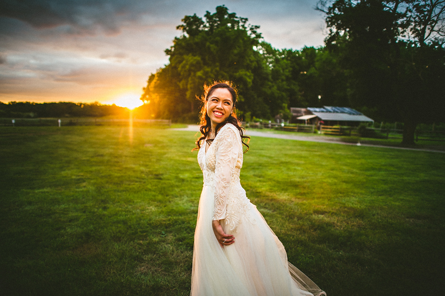 portrait of a bride at sunset