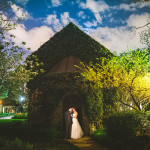 night time wedding portrait of bride and groom