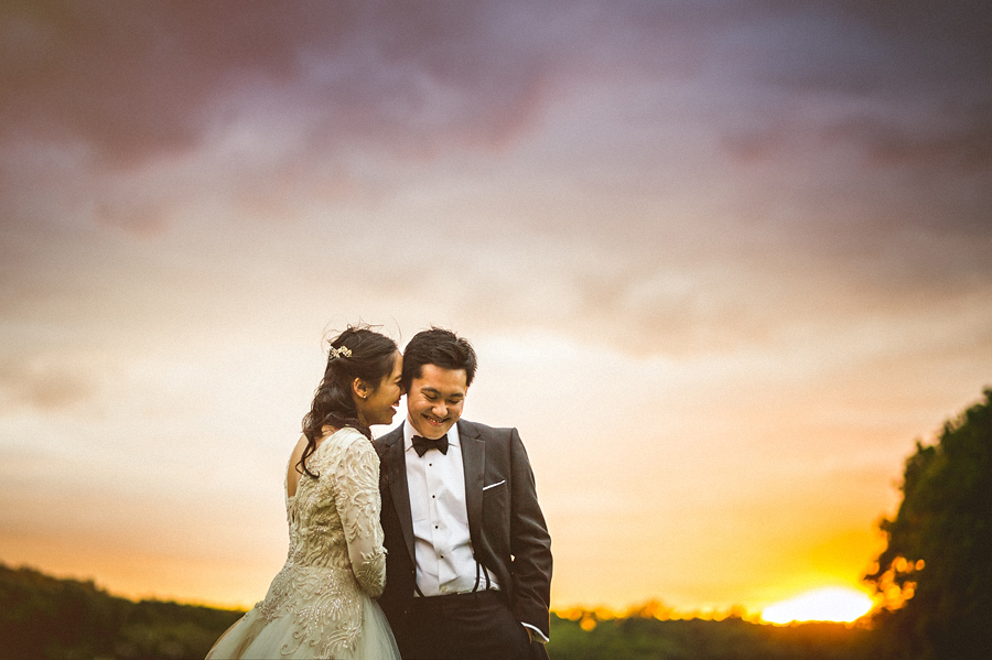 sunset portait with bride and groom