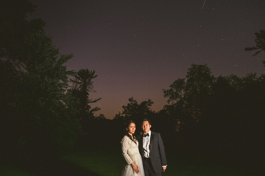 night photo with light painting at farm brook wedding venue