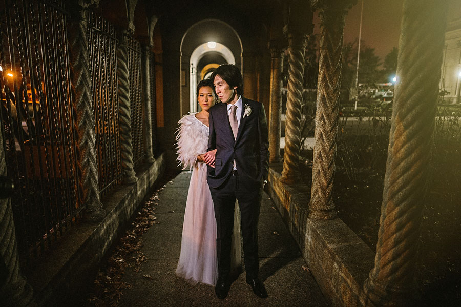 dramatic bride and groom at night