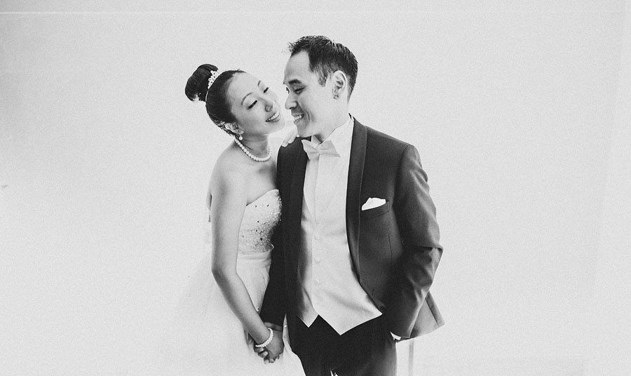 black and white of bride and groom laughing in dc