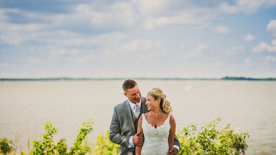 bride and groom on eastern shore
