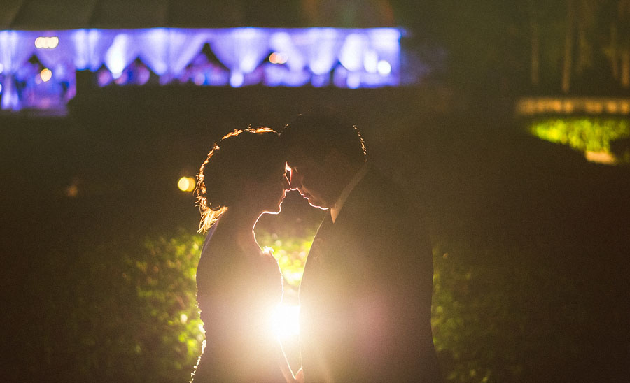 night portraits with bride and groom