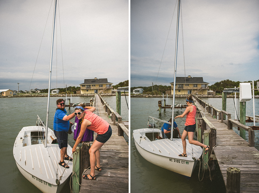 couple getting ready to sail