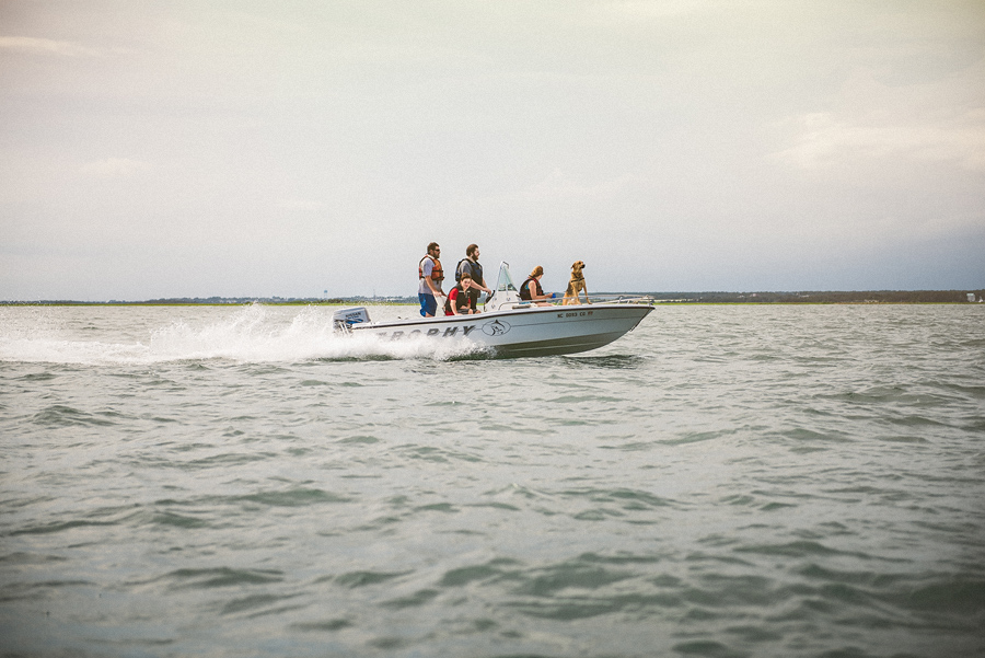 family on a speedboat