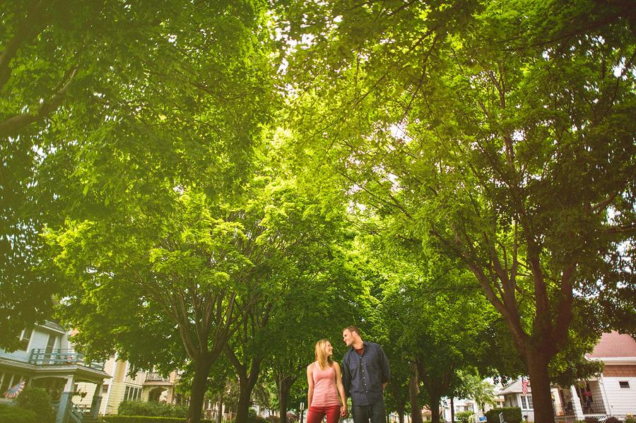 couple walking around neighborhood