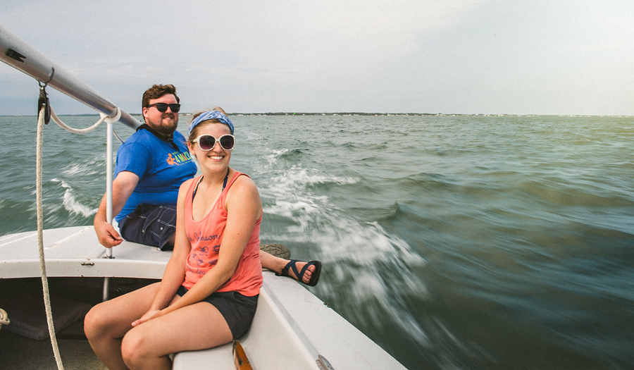 couple in love sailing on a boat