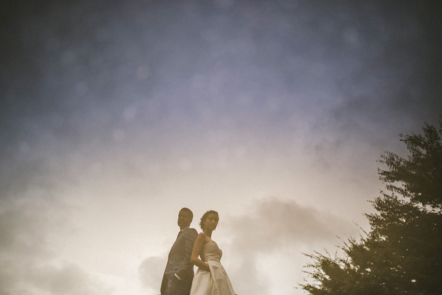 dramatic wedding photos of bride and groom