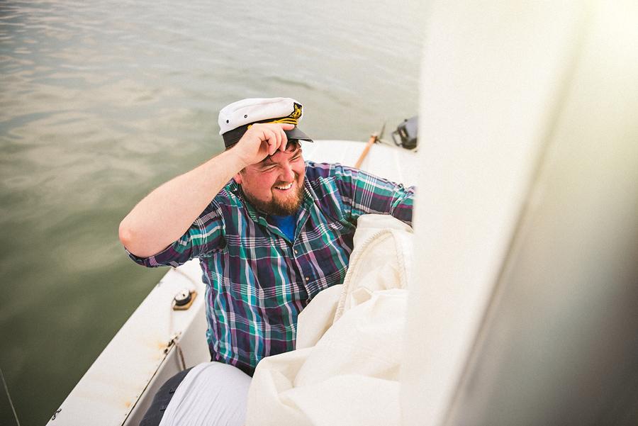 rob taking down the sail