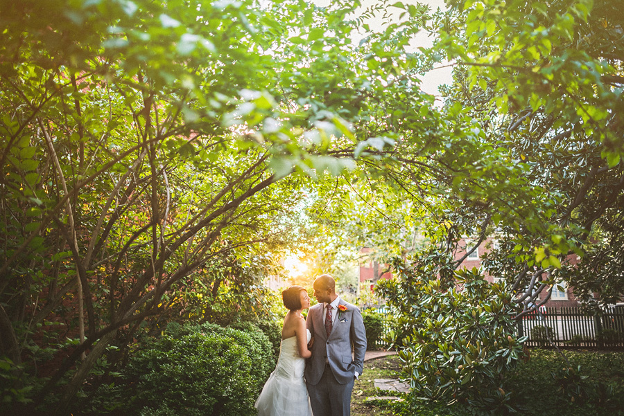 outdoors wedding portrait with bride and groom
