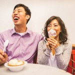 couple with ice cream during engagement session