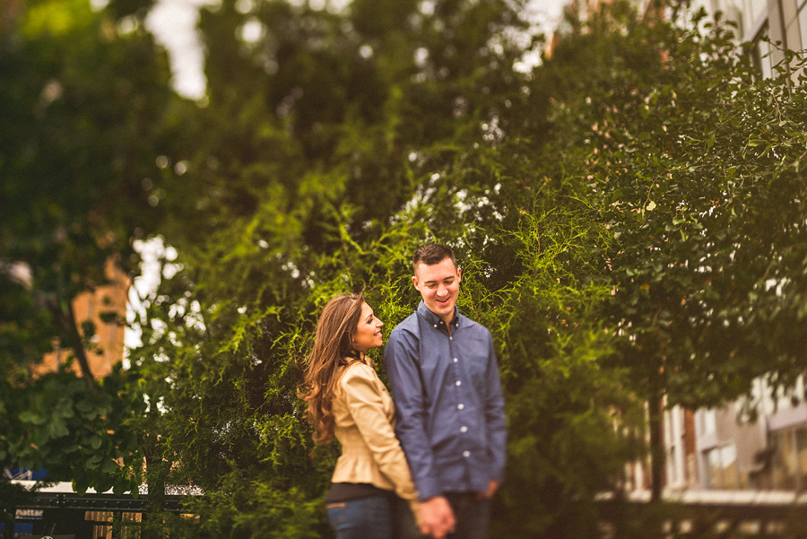 tilt shift portrait during engagement session in nyc