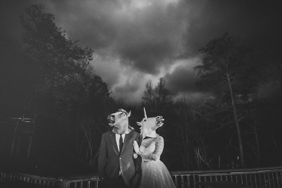 horse head bride and groom