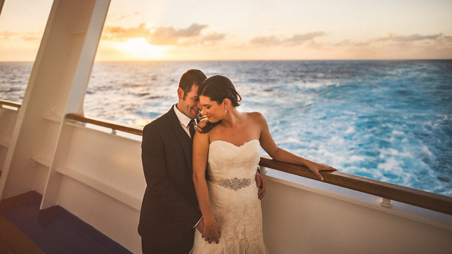 bride and groom on cruise ship