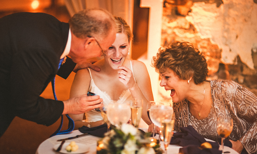 candid moment with brides parents