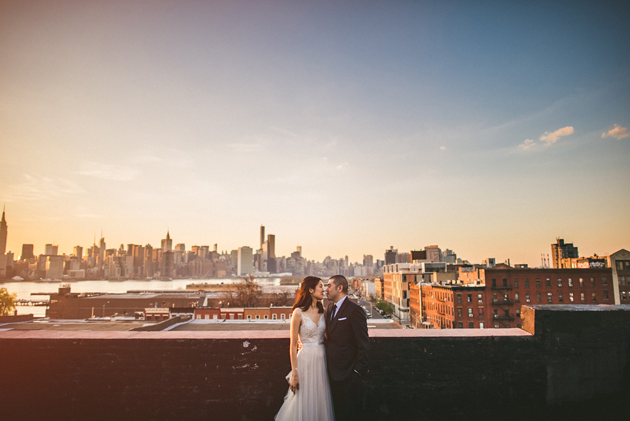 a nyc skyline at sunset