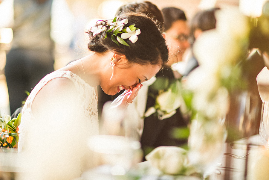 candid of bride crying