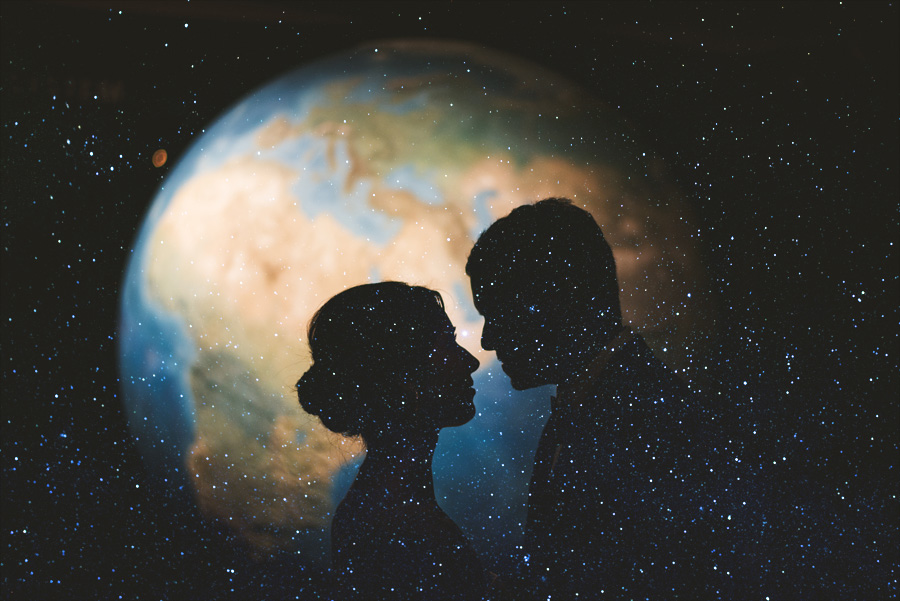 double exposure space stars earth