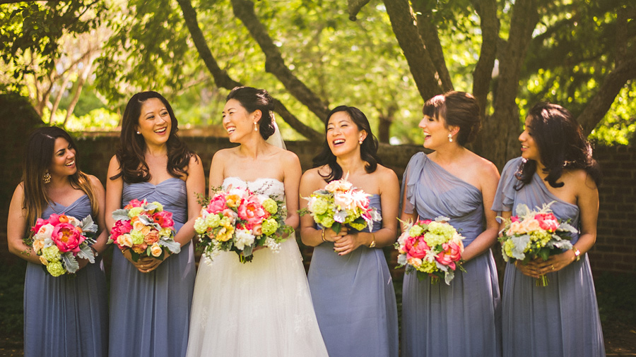 courtney laughing with her bridesmaids