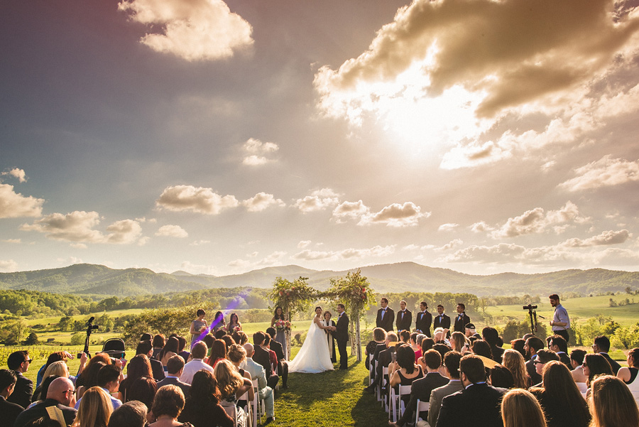 pippin hill wedding ceremony overlooking the mountains