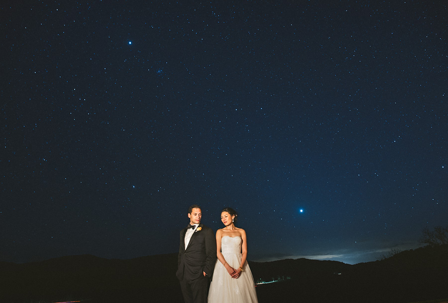 night portrait of courtney and sonny in virginia at their pippin hill wedding