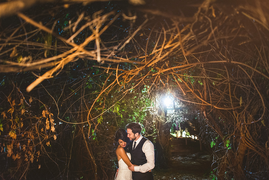 night portrait of bride and groom in mankin mansion