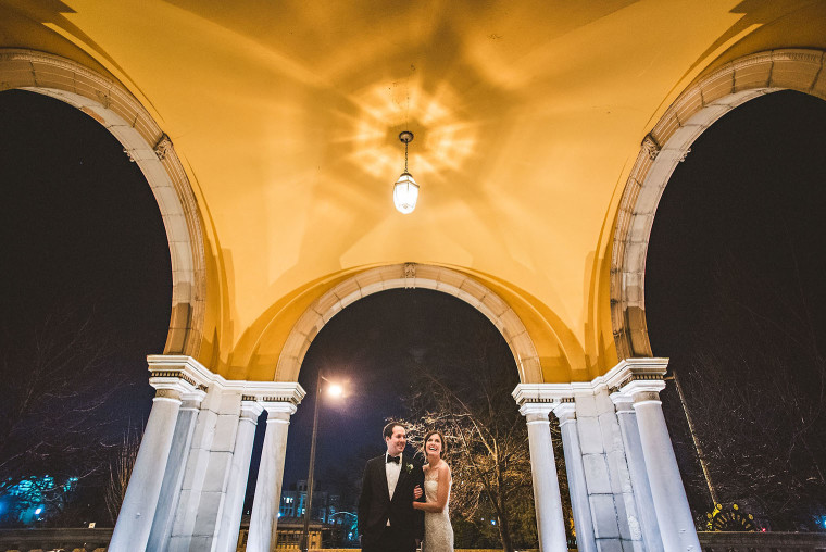 17 wide angle wedding portrait at night