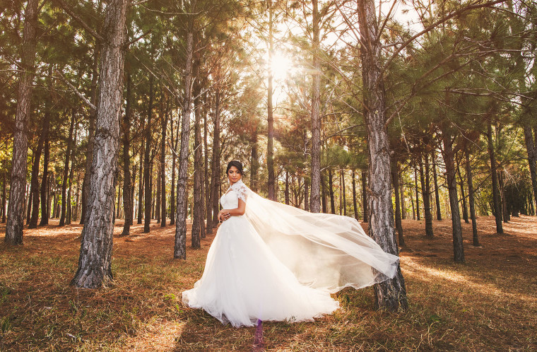 11 a wedding dress with cape portrait