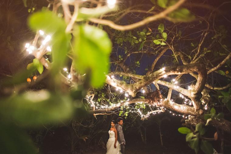 11 night portrait of bride and groom